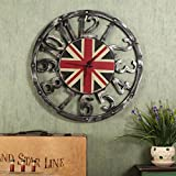 fwerq American Style rétro personnalité Salon Restaurant Silencieux Alarme Horloge, décorations d'horloges et montres, B