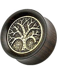 Piersando® Piercing Plug Ohr Flesh Tunnel Baum des Lebens Holz Altgold