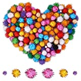 PandaHall Elite 360pcs Handmade DIY Doll Craft Pom Pom Pom Palle, Glitter Sparkle Sfere, Colori Assortiti, Color 1, 12mm/25mm/30mm