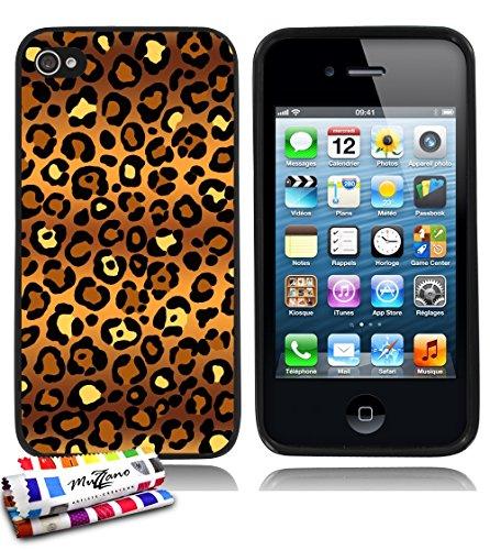 Ultraflache weiche Schutzhülle APPLE IPHONE 4 / IPHONE 4S [Leopard Natur] [Durchsichtig] von MUZZANO + STIFT und MICROFASERTUCH MUZZANO® GRATIS - Das ULTIMATIVE, ELEGANTE UND LANGLEBIGE Schutz-Case fü Schwarz