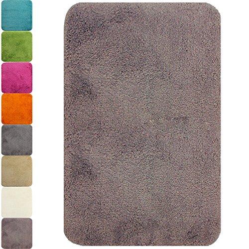 PROHEIM Badematte in Vielen Formen Rutschfester Badvorleger Premium Badteppich 1200 g/m² weich & Kuschelig Hochflor, Farbe:Taupe, Produkt:Badematte 50 x 80 cm
