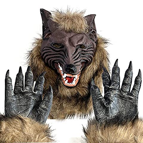 Huntingdoor Werewolf Mask and Gloves Fancy Dress  Costume Latex Costume Cosplay Halloween