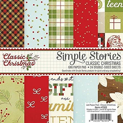 Classic Christmas Paper Pad, Multi-Colour, 6 x 6-Inch