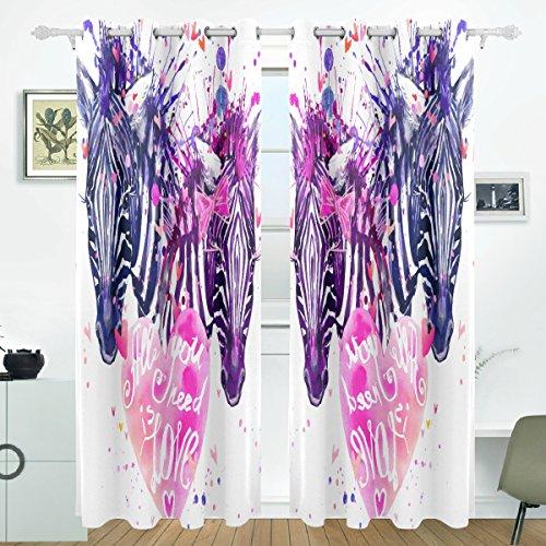 COOSUN Aquarell Liebe Zebra Blackout Vorhänge Verdunkelung Thermische Isolierte Polyester Grommet Top Blind Vorhang für Schlafzimmer, Wohnzimmer, 2 Panel (55 Watt x 84L Zoll) (Zebra Thermische Vorhänge)
