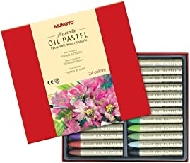 Mungyo Water-Soluble Oil Pastel Set of 24 Assorted Colors - Aquarelle Extra Soft Pastels