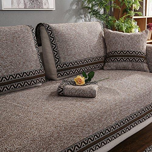WYSMao Volltonfarbe Sofa Decken,Anti-rutsch,Möbel Protector, Gestrickte Decke Anti-rutsch All-Inclusive-Couch Cover werfen für 1 verdicken,2,3,4 Kissen abdeckungen-Brown 110x160cm(43x63inch)