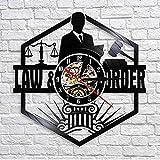 WuJinfan Abogado de la balanza de la Justicia Oficina Decoración de la Sala Abogado Reloj de Pared Abogado Disco de Vinilo Reloj de Pared Orden de la Ley Pase el Regalo del Bar