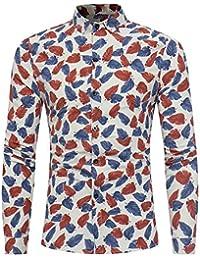 BUSIM Men's Long Sleeve Shirt Fashion Floral Print Leaf Button Casual Fashion Trend Basic T-Shirt Slim Shirt Clearance...