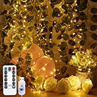 Godyluck 4M 400 LED Firecracker Lights String USB 8 Lighting Modes Waterproof Outdoor Decoration Wedding Christmas(Warm White)