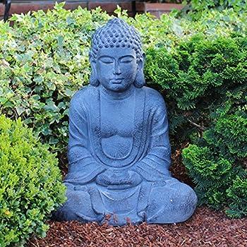 tiefes kunsthandwerk buddha figur aus stein sitzend in schiefer grau statue frostsicher. Black Bedroom Furniture Sets. Home Design Ideas