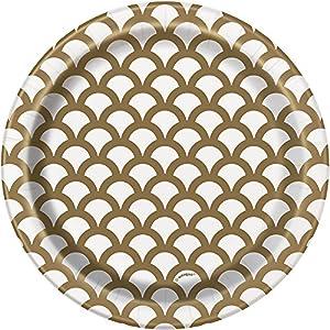 Unique Party- Paquete de 8 platos de papel con diseño de concha, Color oro, 18 cm (37234)