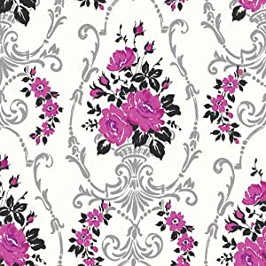 Arthouse papier peint rose noir argent cr me 617501 for Arthouse jardin wallpaper