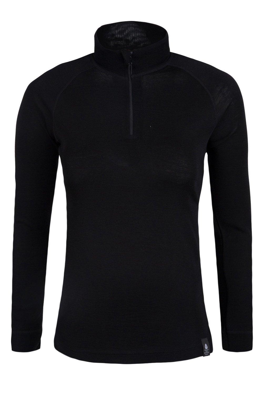 Mountain Warehouse Merino Womens Thermal Baselayer Top - Long Sleeves Ladies T-Shirt, Zip Neck Top, Lightweight, Easy Care Tee 1