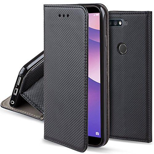 Moozy Hülle Flip Case für Huawei Y7 Prime 2018, Huawei Nova 2 Lite, Schwarz - Dünne Magnetische Klapphülle Handyhülle mit Standfunktion