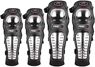 AllExtreme Alloy Steel Adult Knee and Elbow Guard 4-Pieces (Black)