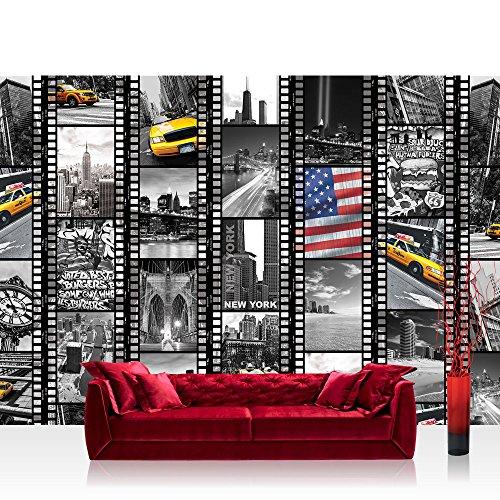 Fototapete 368x254 cm PREMIUM Wand Foto Tapete Wand Bild Papiertapete - New York Tapete Amerika USA Taxi Brücke Collage schwarz weiß - no. 1665