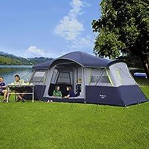 Berger Familienzelt Lagoon, blau/grau, 4 Personenzelt, 3000mm Wassersäule, Zeltboden fest eingenäht