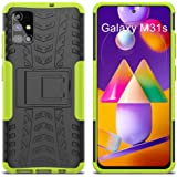 MOONCASE Case for Samsung Galaxy M31s, Dual Layer 2 in 1 Hybrid Rugged Armor Defender Cover with Bracket Function Impact Resi