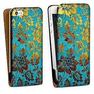 Handy Design Tasche Hülle Case Golden-blue vintage iPhone 5s - Designtasche Downflip black - Apple