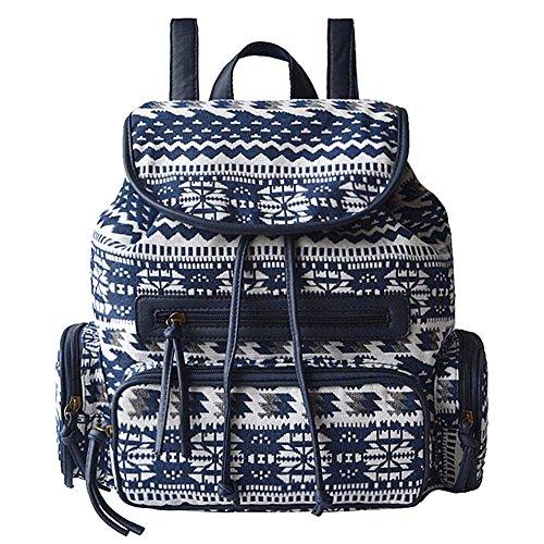 Yiuswoy Canvas Schulrucksack Leichtgewicht Schultaschen Outdoor Freizeit Daypacks Rucksäcke für Schule Mädchen damen - Blau