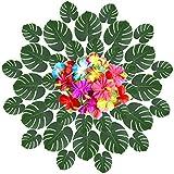 YQing 66 Pcs Foglie di palma tropicale e fiori di ibisco di seta Decorazioni, artificiale foglie tropicali e la palma foglie per Partito Luau Hawaiano Giungla Festa Hawaiana Spiaggia compleanno a tema Decorazioni forniture