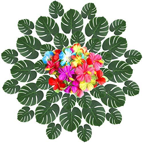 (YQing 42 Stücke Tropische Blätter Künstlich Palmenblätter und 24 Stück Hibiskusblüten Tropische Palmenblätter Hawaiian Luau Dschungel Strand Thema Party Hochzeit Dekorationen Tischdekoration)