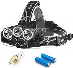Hinmay torcia da testa, fari torcia faro con 5modalità di CREE LED, ricarica USB,6,15000lumen casco leggero per campeggio, corsa, escursionismo, pesca, lettura