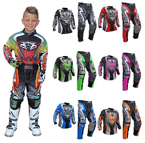 New 2017 Style Motorbike Motorcycle Kids Race Suits WULFSPORT ATTACK Motocross ATV Quad MX Racing Sports Kids Junior Clothing Bike Shirts And Trousers For Children All Colours (BLUE, 8-10 Year)