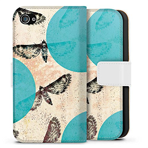 Apple iPhone X Silikon Hülle Case Schutzhülle Motten Muster Motte Sideflip Tasche weiß