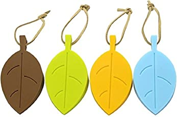 Royalkart Leaf Style Silicone Baby, Kids Door Stopper, Wedge Finger Protector, Cute Cartoon Flexible Silicone Window/Door Stops Set with Lanyard (4 Pack, Green, Yellow, Blue, Coffee)