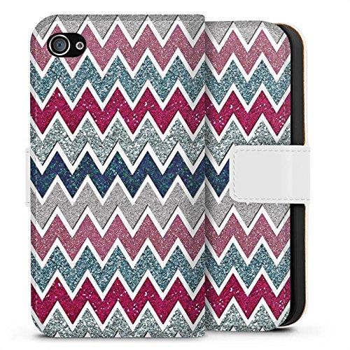 Apple iPhone X Silikon Hülle Case Schutzhülle Zickzack Muster Fein Sideflip Tasche weiß