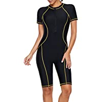 Elapsy Womens Zip Front Color Block Rashguard Short Sleeve One Piece Surfing Swimsuits
