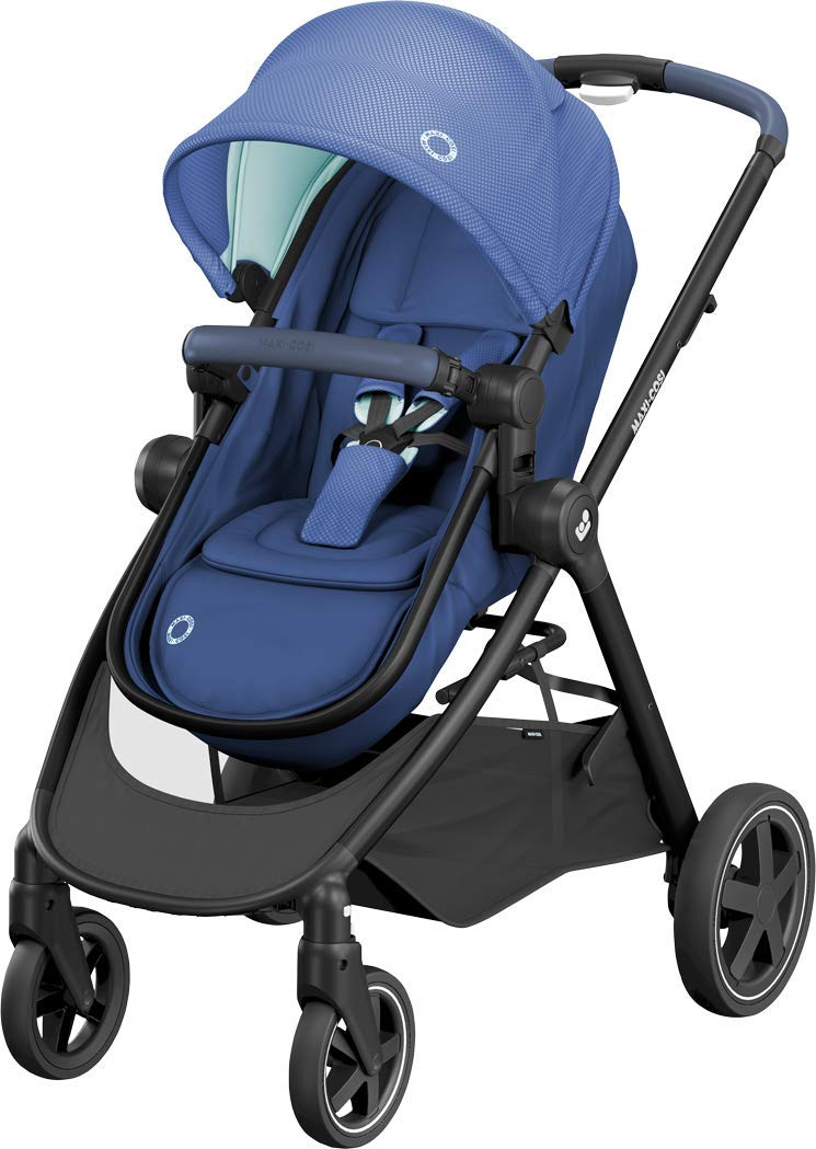 Maxi-Cosi Zelia Baby Pushchair, Lightweight Urban Stroller from Birth, Travel System with Bassinet, 15 kg, Essential Blue Maxi-Cosi Flexible stroller from birth to 3.5 years 2-in-1 seat unit: zelia's seat transforms into a pram bassinet for use from 0 - 12 m in a single movement This city stroller is easy to carry thanks to its lightweight 1