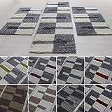 Bettumrandungen Läufer Teppiche Hochflor Shaggy gestreift und kariert G2500, Farbe:Lila, BettSet:2 x 80x150 + 1 x 80x250