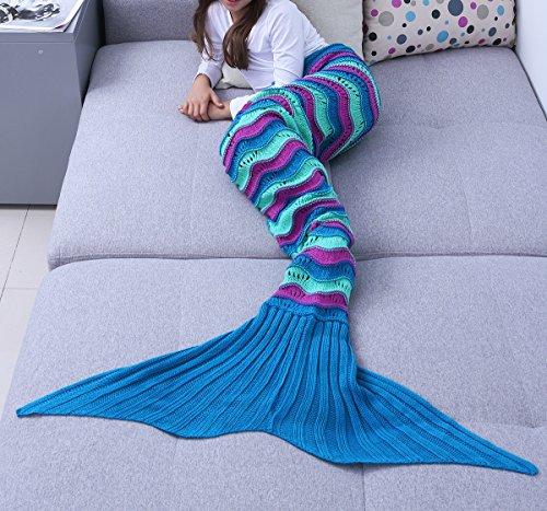 YiZYiF Handgemachte Meerjungfrau Decke Fleece Sofadecke Schlafsack Mermaid Blanket Kostüm für Kinder Mädchen (Einheitsgröße, Gestrickt Blau&Lila (Kinder))