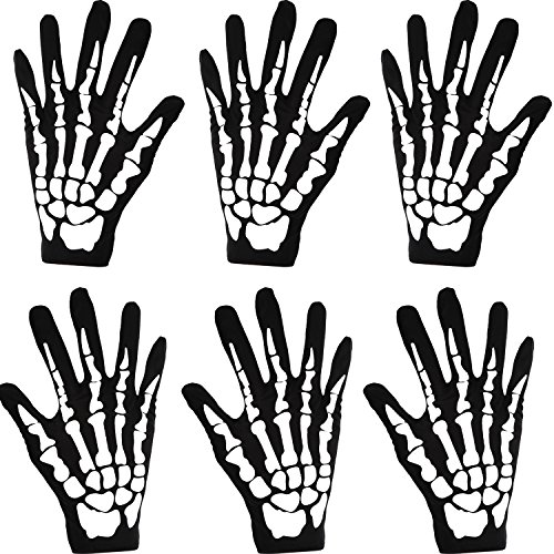 3 Paare Halloween Schwarz Weiß Skeleton Handschuhe Schädel Fancy Dress Zubehör Geist Skelett für Erwachsene Halloween Tanzen Party Kostüm Handschuhe (Klein) (Rave Kostüm Für Paare)