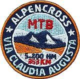 2 x Via Claudia Abzeichen 52 mm gestickt/MTB Alpencross Augusta Transalp Alpenüberquerung Radtour/Aufnäher Aufbügler Sticker Patch/Radkarte Fahrrad-Karte Touren-Führer Reiseführer