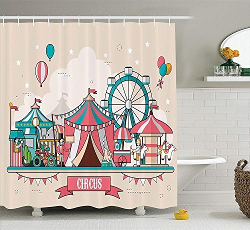 JIEKEIO Circus Decor Shower Curtain Set, Circus Facilities Scenery in Flat Design Style Balloons Children at Park Illustration, Bathroom Accessories, 60 * 72inch Extralong, -