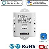 1-Kanal Smart WiFi Schalter, Stimmenkontrolle Fernbedienung Steckdose Lichtschalter Kompatibel mit Alexa, Google Home, Google Nest, Smartphone APP für DIY Smart Home