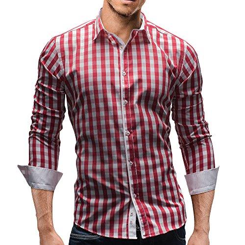 Merish Herren Hemd Herrenhemd Kariert 7 Modelle S-XXL Freizeithemd 144 Rot-Weiß