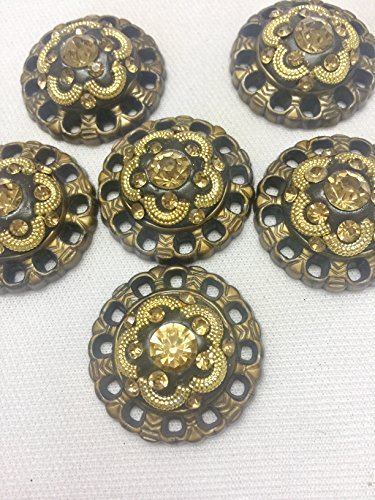 Antique Gold Buttons with Stone for Kurtis Ethnic Dresses Growns by 3