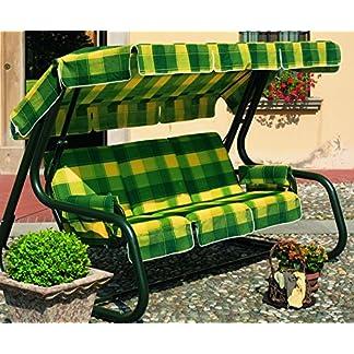 Ideapiu Balancín de jardín Convertible en Cama, balancín de jardín 4plazas, balancín Master Scab, Cama Dondoli Blanco, Revestimiento y Techo algodón Cuadros TONALITA 'Amarillo Verde