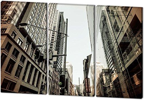 City, schönes und hochwertiges Leinwandbild zum Aufhängen in XXL - 3 Teiler mit 120cm x 80cm, echter Holzrahmen, effektiver Pigmentdruck, modernes Design für Ihr Büro oder Zimmer
