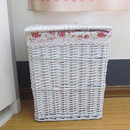 Faltbare Wäschekorb Box, Wicker Storage Hamper Bin Mit Deckel Und Waschbaren Futter Natural, 43X33x53 Cm (Storage Körbe Wicker Große)