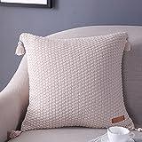 micbridal® algodón punto Ornamentales almohada Twist de diseño almohada sofá Oficina Decoración Cojín habitaciones Auto cama cojín funda de cojín 45x 45cm, algodón, beige, 45 x 45 cm