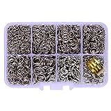 Platine & # x65b0; & # x54C1; dans une boîte (2000pcs/Boîte) Kit avec Plaqué Argent mat Lot de 100fermoirs en Pince de homard 12mm et 1900Lot de Anneaux Ouverts 4mm 5mm 6mm 7mm 8mm 10mm et anneau ouvert Outil Apprêt pour bijoux...