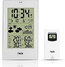 FanJu FJ3352 Wetterstation mit Außensensor Funk/Innen- und Außentemperatur und Feuchtigkeit/DCF-Empfangssignal Funkwetterstation/Mondphase/Betrieben Uhr mit Thermometer. …