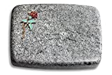 Generic Grabplatte, Grabstein, Grabkissen, Urnengrabstein, Liegegrabstein Modell Linea 40 x 30 x 7 cm Viskont-White-Granit, Poliert inkl. Gravur (Bronze-Color-Ornament Rose 2)
