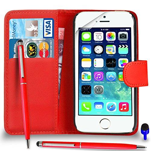 Apple iPhone 5 / 5S Premium Leather Blanc Wallet flip écran Housse Pouch + stylo à bille tactile Stylet + Protecteur & Chiffon PAR SHUKAN®, (BLANC) Rouge