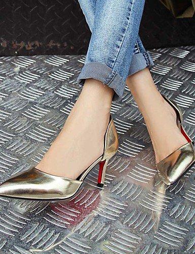 WSS 2016 Chaussures Femme-Mariage / Extérieure / Habillé / Décontracté-Rose / Rouge / Argent / Or-Talon Cône-Confort / Bout Pointu-Talons- silver-us7.5 / eu38 / uk5.5 / cn38